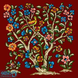 درختچه گل و پرنده 3(کوسن کوچک 3)